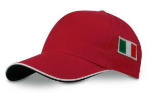 CAPPELLO-UOMO-DONNA-BAMBINO-ROSSO-CON-VISIERA-E-BANDIERA-italia-RICAMATA-290980470300