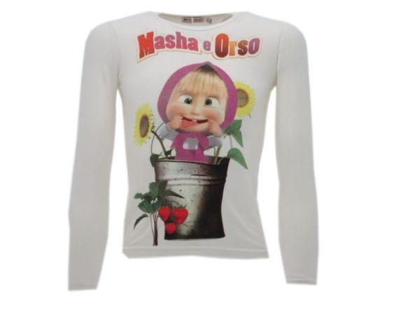 T-SHIRT-MANICA-LUNGA-MASHA-E-ORSO-BAMBINO-BIANCO-TSHIRT-MAGLIA-MAGLIETTA-NUOVO-302249833220