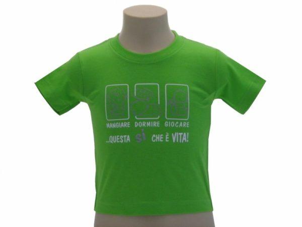 T-SHIRT-MANGIARE-DORMIRE-GIOCARE-QUESTA-SI-CHE-VITA-BAMBINO-COLOR-BABY-GIALLO-302249847774