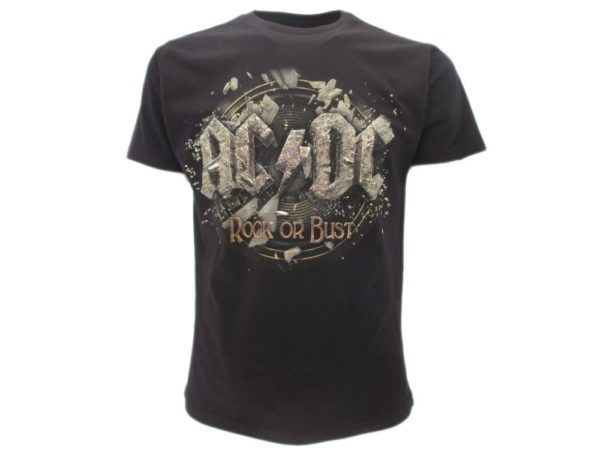 T-SHIRT-AC-DC-ROCK-OR-BUST-DONNA-UOMO-CRAZY-FOR-ROCK-NERO-TSHIRT-MAGLIETTA-NUOVO-302249833268