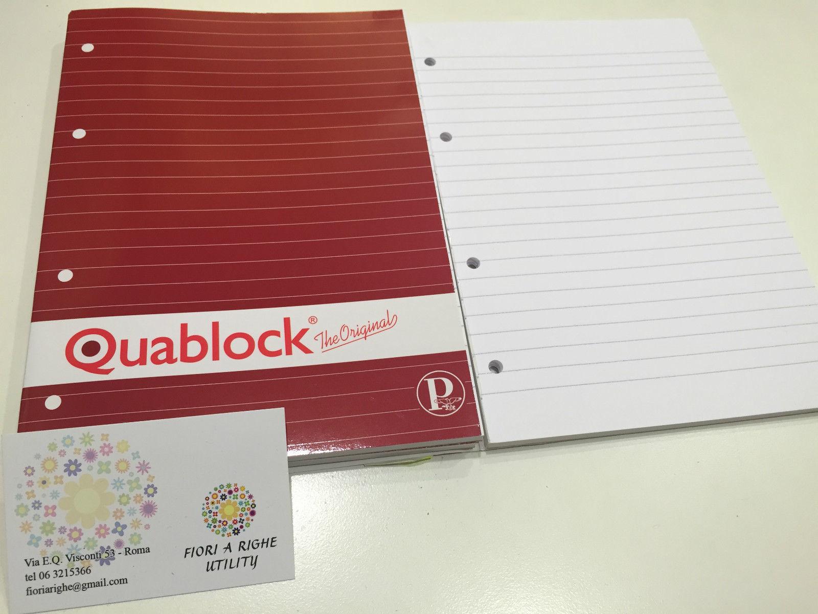 Set 3 quaderni quablock pigna righe con buchi nuovi da for Negozio con costi di alloggio