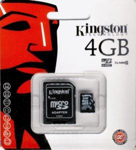 scheda-di-memoria-KINGSTON-MicroSd-SDHC-4GB-classe4Adattatore-SD-smartphone-291178347369